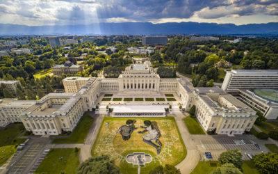Saype au Palais des Nations à Genève